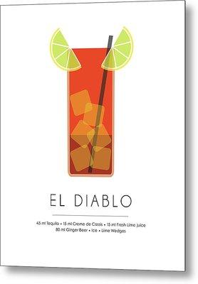 El Diablo Classic Cocktail Minimalist Print Metal Print