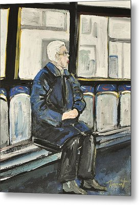 Elderly Lady On 107 Bus Montreal Metal Print by Reb Frost