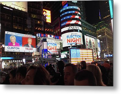 Election Night In Times Square 2016 Metal Print