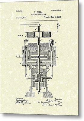 Electric Generator 1894 Patent Art Metal Print by Prior Art Design