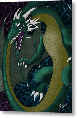 Electric Portal Dragon Metal Print