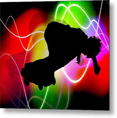 Electric Spectrum Skateboarder Metal Print by Elaine Plesser