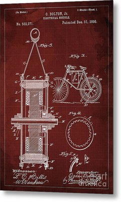 Electrical Bycicle Patent 1895 Metal Print