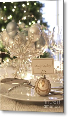 Elegant Holiday Dinner Table With Focus On Place Card Metal Print by Sandra Cunningham