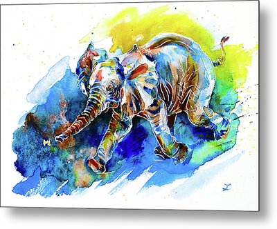 Metal Print featuring the painting Elephant Calf Playing With Butterfly by Zaira Dzhaubaeva