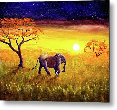 Elephant In Purple Twilight Metal Print