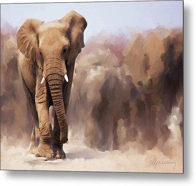 Elephant Painting Metal Print by Michael Greenaway