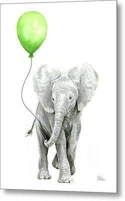 Elephant Watercolor Green Balloon Kids Room Art  Metal Print by Olga Shvartsur