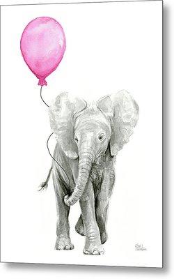 Elephant Watercolor With Pink Balloon Metal Print by Olga Shvartsur