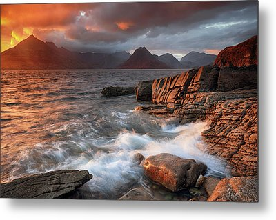 Metal Print featuring the photograph Elgol Stormy Sunset by Grant Glendinning