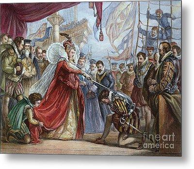 Elizabeth I/francis Drake Metal Print by Granger