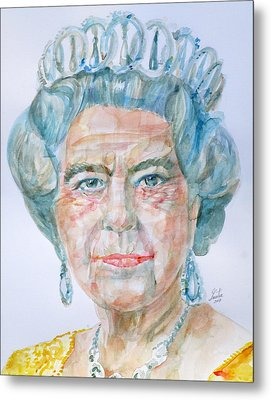 Metal Print featuring the painting Elizabeth II - Watercolor Portrait.2 by Fabrizio Cassetta