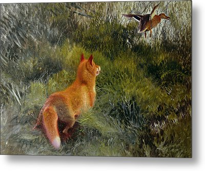 Eluding The Fox Metal Print by Bruno Andreas Liljefors