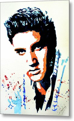 Metal Print featuring the painting Elvis by Steven Ponsford