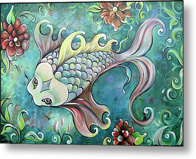 Emerald Koi Metal Print by Shadia Derbyshire