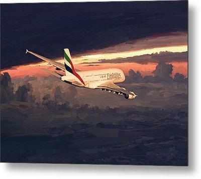 Emirates Airbus A380 Above Dubai Metal Print