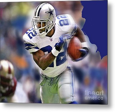 Emmit Smith, Number 22, Running Back, Dallas Cowboys. Metal Print