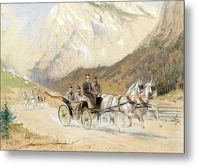 Emperor Franz Joseph I With Crown Prince Rudolf On A Carriage Journey In The Salzkammergut Metal Print