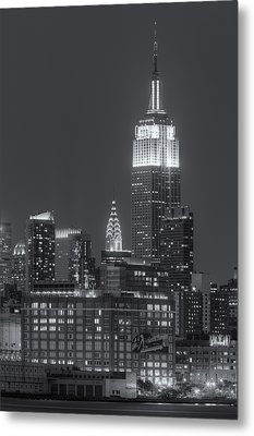 Empire State And Chrysler Buildings At Twilight II Metal Print by Clarence Holmes