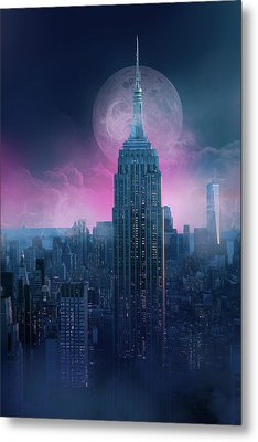 Empire State Building Moonlight Metal Print