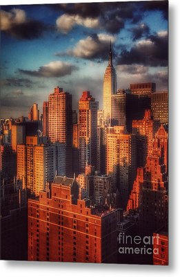 Empire State In Gold Metal Print by Miriam Danar