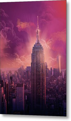Empire State Building Sunset Metal Print