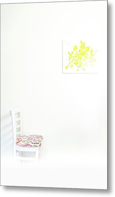 Empty Chair With Yellow Roses Metal Print
