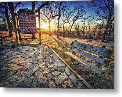 Empty Park Bench - Sunset At Lapham Peak Metal Print by Jennifer Rondinelli Reilly - Fine Art Photography