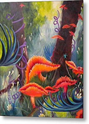 Metal Print featuring the painting Enchanted Forest by Renate Nadi Wesley