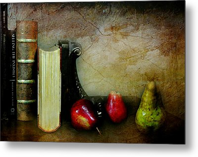 Pears'n Books Metal Print by Diana Angstadt