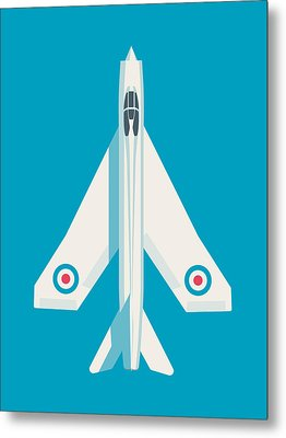 English Electric Lightning Fighter Jet Aircraft - Blue Metal Print by Ivan Krpan