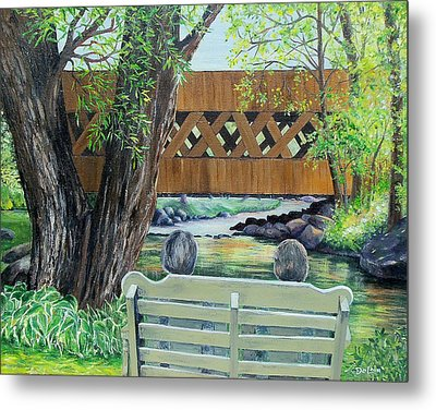 Metal Print featuring the painting Enjoying The View by Susan DeLain