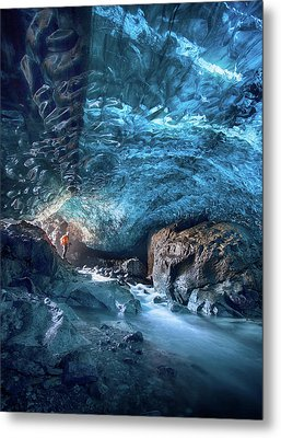 Entering The Ice Cave Metal Print by Peter Svoboda