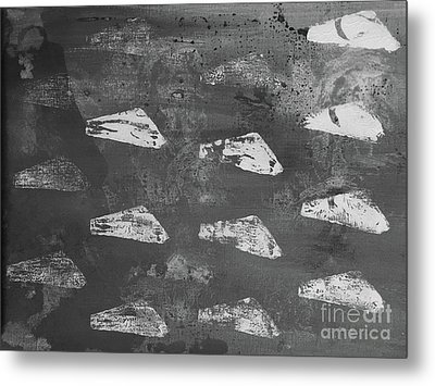 Metal Print featuring the painting Eoliths Grayscale by Robin Maria Pedrero