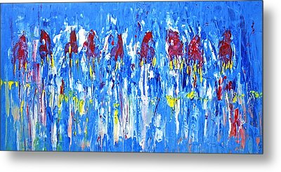 Metal Print featuring the painting Equine Abstract Painting Horses On The Range by Jennifer Godshalk
