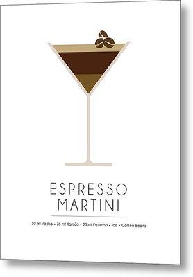Espresso Martini Classic Cocktail - Minimalist Print Metal Print