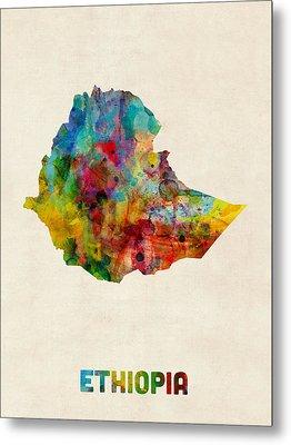 Ethiopia Watercolor Map Metal Print