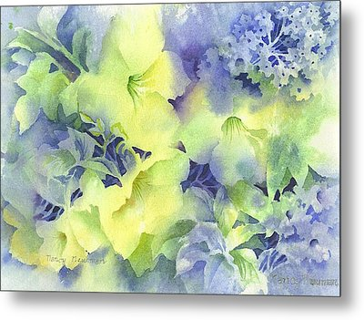 Evening-blooms Metal Print by Nancy Newman