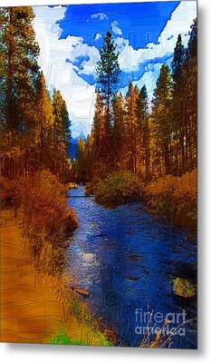 Evening Hatch On The Metolius Painting Metal Print by Diane E Berry