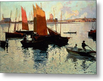 Evening Light At The Port Of Camaret Metal Print by Charles Cottet