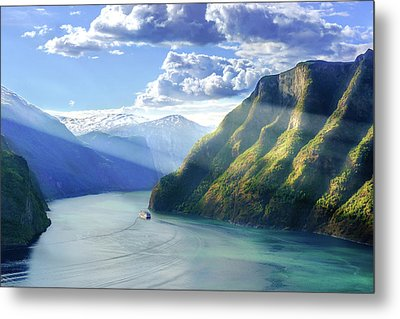 Metal Print featuring the photograph Evening Over Geirangerfjord by Dmytro Korol