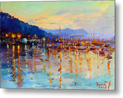 Evening Reflections In Piermont Dock Metal Print