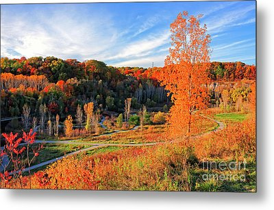 Evergreen Brick Works Autumn Metal Print by Charline Xia