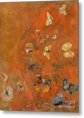 Evocation Of Butterflies Metal Print by Odilon Redon
