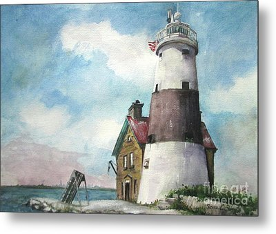 Execution Rocks Lighthouse Metal Print by Susan Herbst