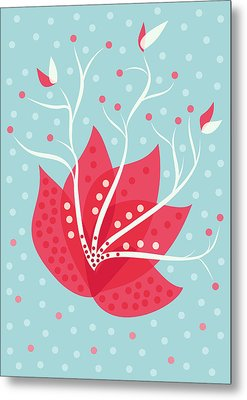 Exotic Pink Flower And Dots Metal Print by Boriana Giormova