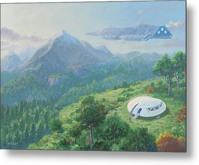 Metal Print featuring the digital art Exploring New Landscape Spaceship by Martin Davey