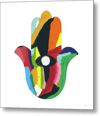 Expressionist Hamsa- Art By Linda Woods Metal Print by Linda Woods