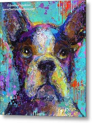 Expressive Boston Terrier Painting By Metal Print