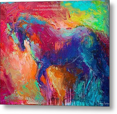 Expressive Stallion Painting By Metal Print